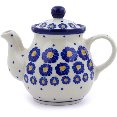 Polish Pottery Tea or Coffee Pot 13 oz Wreath Of Blue