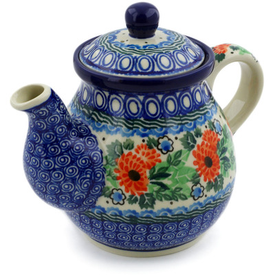 Polish Pottery Tea or Coffee Pot 20 oz Orange Calendulas UNIKAT