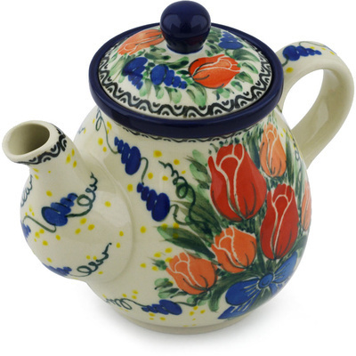 Polish Pottery Tea or Coffee Pot 20 oz Tulip Bouquet UNIKAT