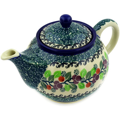 Polish Pottery Tea or Coffee Pot 3½ cups Berry Garland