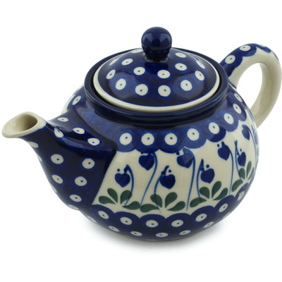 Polish Pottery Tea or Coffee Pot 3½ cups Bleeding Heart Peacock