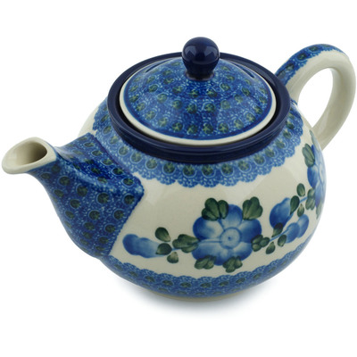 Polish Pottery Tea or Coffee Pot 3½ cups Blue Poppies