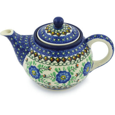 Polish Pottery Tea or Coffee Pot 3½ cups Cobalt Poppies UNIKAT