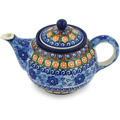 Polish Pottery Tea or Coffee Pot 3½ cups Dancing Blue Poppies UNIKAT