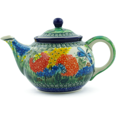 Polish Pottery Tea or Coffee Pot 3½ cups Garden Delight UNIKAT