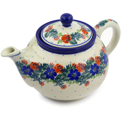 Polish Pottery Tea or Coffee Pot 3½ cups Polish Wreath