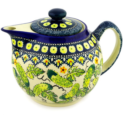 Polish Pottery Tea or Coffee Pot 39 oz Cucumber Patch