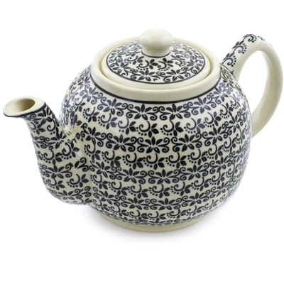 Polish Pottery Tea or Coffee Pot 4 Cup Black Lace Vines