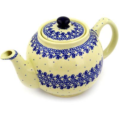4034885267e0 Tea or Coffee Pot 4 Cup Blue Lace Vines