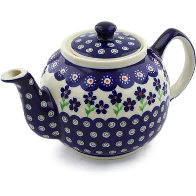 Polish Pottery Tea or Coffee Pot 4 Cup Bright Peacock Daisy