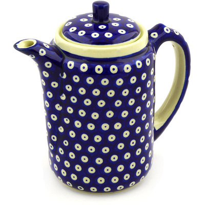 Polish Pottery Tea or Coffee Pot 42 oz Blue Eyes