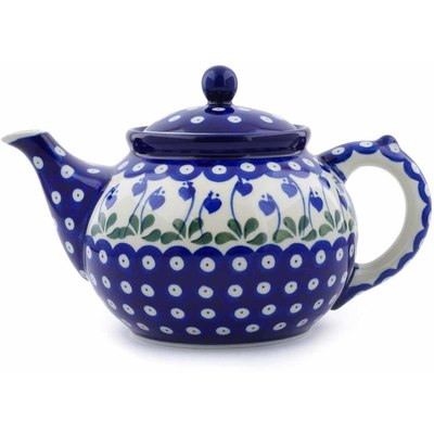Polish Pottery Tea or Coffee Pot 5 cups Bleeding Heart Peacock