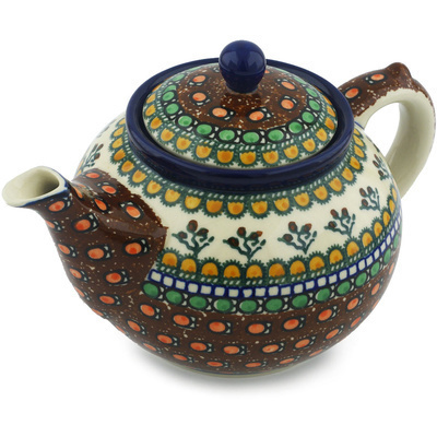 Polish Pottery Tea or Coffee Pot 5 cups Cranberry Medley UNIKAT