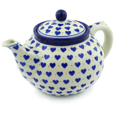 Polish Pottery Tea or Coffee Pot 5 cups Heart Of Hearts