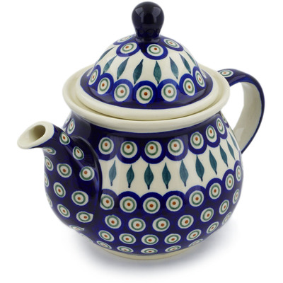 Polish Pottery Tea or Coffee Pot 6 cups Peacock Leaves