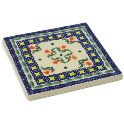 "Polish Pottery Tile 4"" Cocentric Tulips"