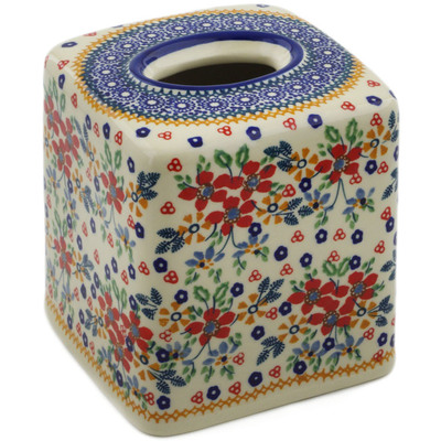 "Polish Pottery Tissue Box Cover 6"" Ruby Bouquet UNIKAT"