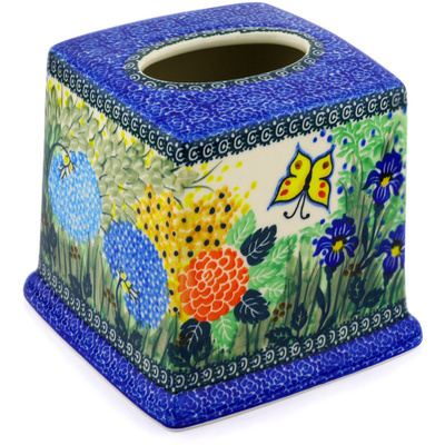 "Polish Pottery Tissue Box Cover 6"" Spring Garden UNIKAT"