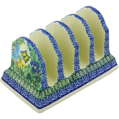 "Polish Pottery Toast Holder 6"" Spring Garden UNIKAT"