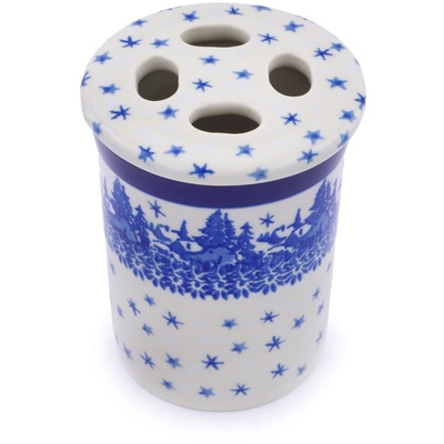 "Polish Pottery Toothbrush Holder 4"" Blue Winter"