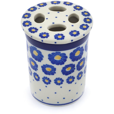 "Polish Pottery Toothbrush Holder 4"" Wreath Of Blue"