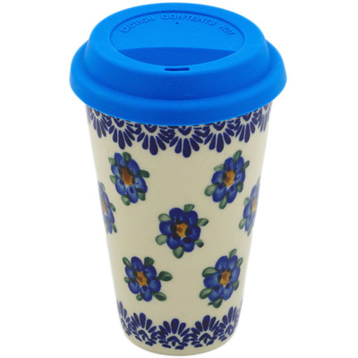 Polish Pottery Travel Coffee Mug Blue Flower Halo UNIKAT