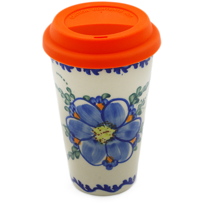 Polish Pottery Travel Coffee Mug Blue Garden UNIKAT