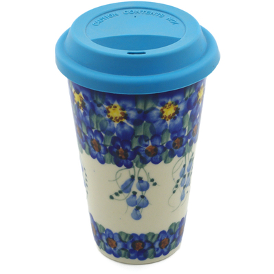 Polish Pottery Travel Coffee Mug Field Of Blue UNIKAT