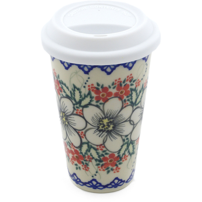 Polish Pottery Travel Coffee Mug Heavenly UNIKAT