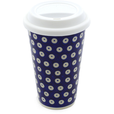 Polish Pottery Travel Coffee Mug Peacock Dots