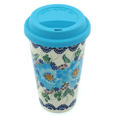 Polish Pottery Travel Coffee Mug Soft Touch UNIKAT