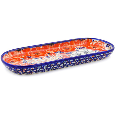 "Polish Pottery Tray 11"" Poppy Passion UNIKAT"