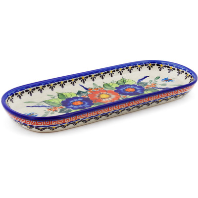 "Polish Pottery Tray 11"" Spring Splendor UNIKAT"