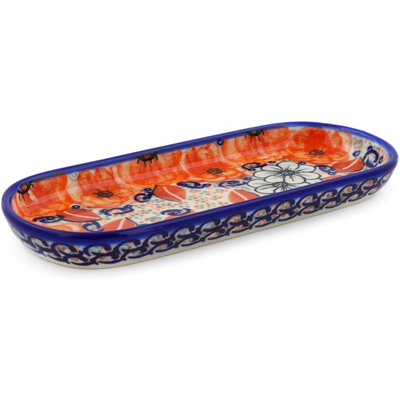 "Polish Pottery Tray 9"" Poppy Passion UNIKAT"