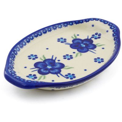 "Polish Pottery Tray with Handles 7"" Bleu-belle Fleur"