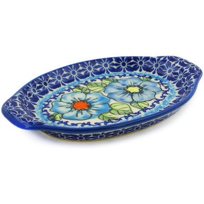 "Polish Pottery Tray with Handles 7"" Bold Blue Poppies UNIKAT"