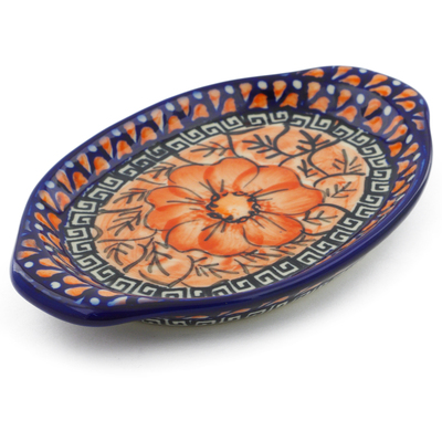 "Polish Pottery Tray with Handles 7"" Fire Poppies UNIKAT"