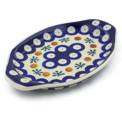 "Polish Pottery Tray with Handles 7"" Mosquito"