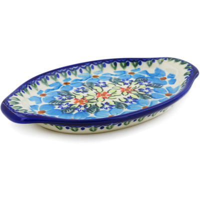 "Polish Pottery Tray with Handles 7"" Pansy Morning"