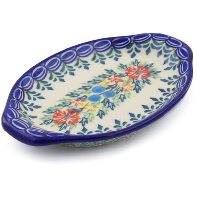 "Polish Pottery Tray with Handles 7"" Ring Of Flowers UNIKAT"