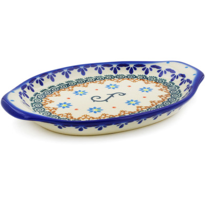 "Polish Pottery Tray with Handles 7"" Sunflower Dance"