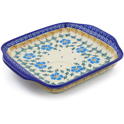 "Polish Pottery Tray with Handles 8"" Blue Cornflower"