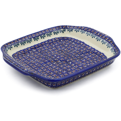 "Polish Pottery Tray with Handles 8"" Blue Cress"