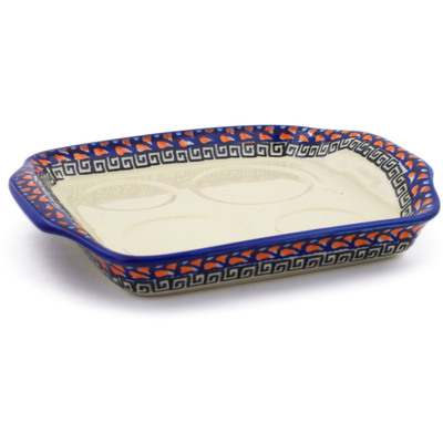 "Polish Pottery Tray with Handles 8"" Fire Poppies UNIKAT"
