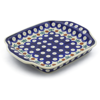 "Polish Pottery Tray with Handles 8"" Mosquito"