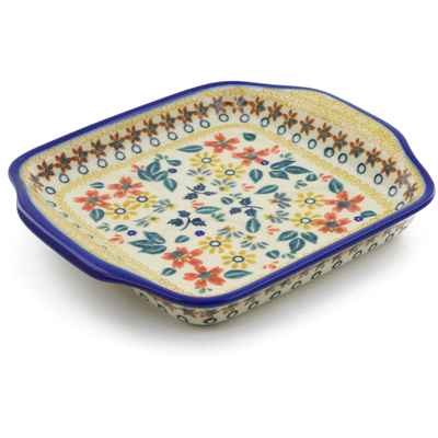 "Polish Pottery Tray with Handles 8"" Red Anemone Meadow UNIKAT"