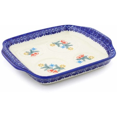 "Polish Pottery Tray with Handles 8"" Wreath Of Bealls"