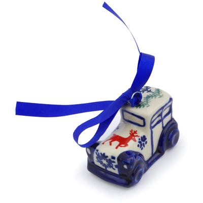 "Polish Pottery Truck Ornament 3"" Reindeer Winter"