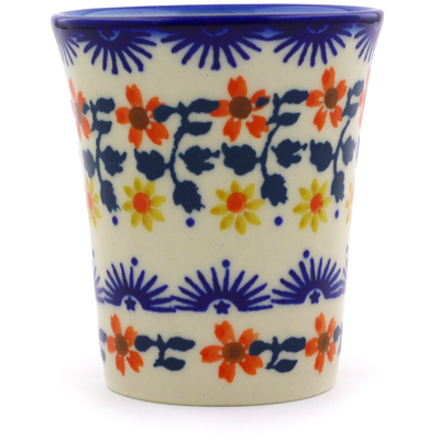 Polish Pottery Tumbler 5 oz Red Sunflower