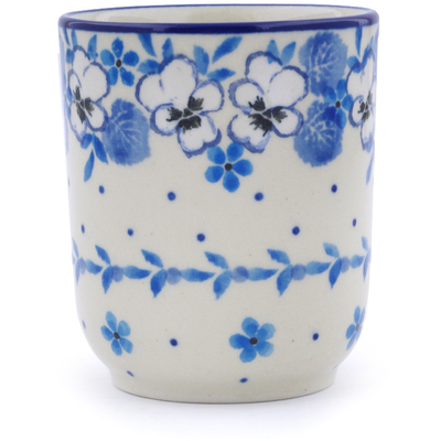 Polish Pottery Tumbler 5 oz White Pansy